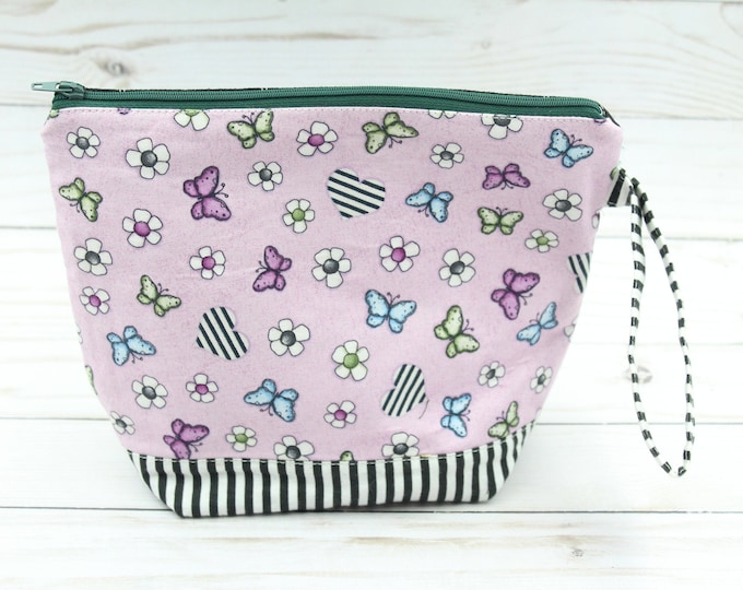 zipper pouch  project storage bag for knitting crochet  handwork, make up cosmetic bag 7.5x9inches