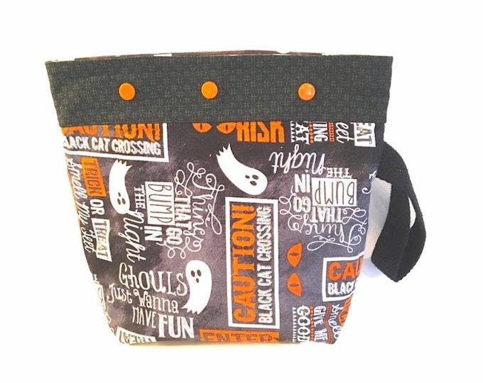 knitting bag, crochet project bag, gift for knitter, project bag, Halloween