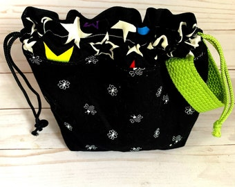 drawstring bag, knitting, crochet , stars, bees flowers project yarn bag. 9X7 inches