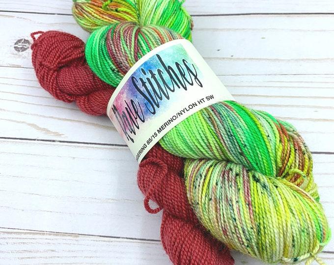 hand dyed sock yarn,  85/15 high twist super wash, fingering, indy dyed, merino nylon  yarn  knitting crochet yarn yellow, green variegated