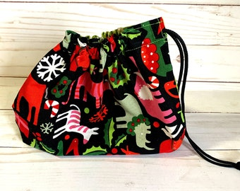 Small  unlined drawstring Christmas bag