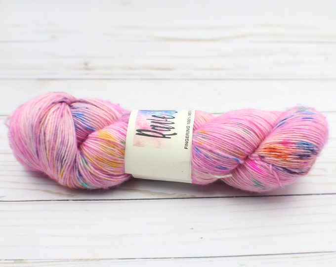 Hand dyed pastel colour yarn, variegated purple pink orange blue 100% merino single ply super wash