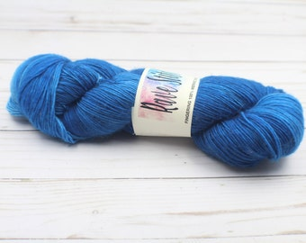 indie dyed yarnSingle ply fingering super wash blue tonal hand dyed fingering yarn
