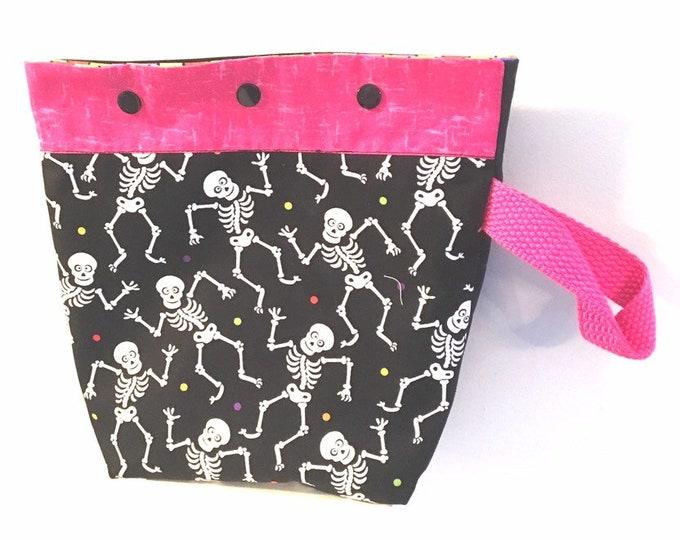 Knitting,crochet project bag, sock bag, Halloween, glow in the dark, skeletons 9x10
