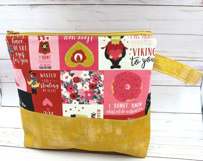 project bag for knitters, crochet project bag,  large make up bag, Valentine's Day gift, travel bag 10x10 inches
