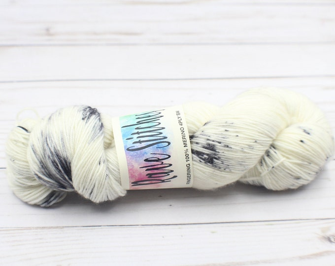 Hand dyed yarn white and black 100% super wash variegated 4 ply fingering merino yarn