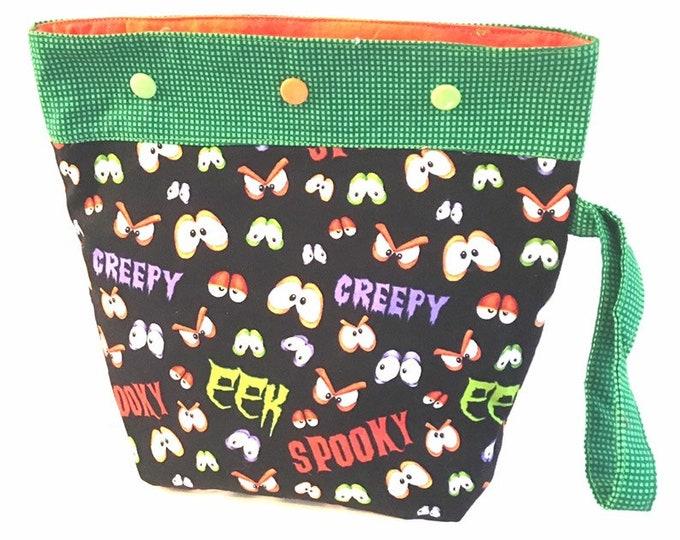 Knitting crochet Halloween project bag, bag for knitter, gift for mom, yarn tote, yarn bag, Haloween project bag, knitting bag