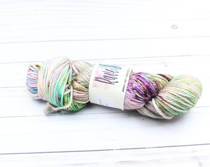 Aran, worsted weight 100% Merino colourful variegated  speckled hand dyed super wash yarn
