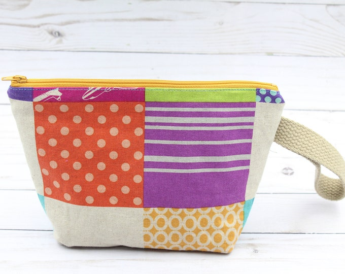 Sock knitting project bag, small zipper pouch ,knitting crochet project bag 9.5x6/34 inches