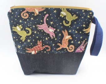 small medium  knitting bag cat  theme fabric cotton, sparkly denim  9.5 X 11  inches