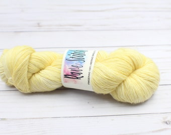 indie dyed yarn100% super wash fingering merino wool yarn  hand dyed yarn pale yellow