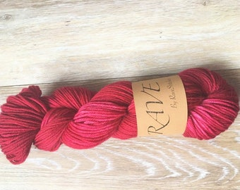 Hand dyed dk weight 100%  super wash merino red yarnindie dyed yarn