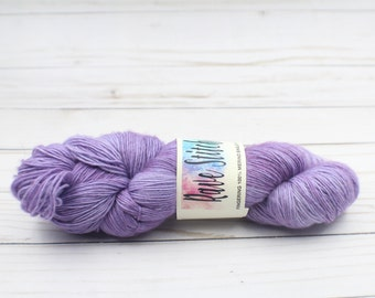 indie dyed yarnhand dyed single ply merino purple tonal super wash yarn