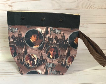 small  medium project bag Harry Potter knitting, crochet,  9.5 X9 inches