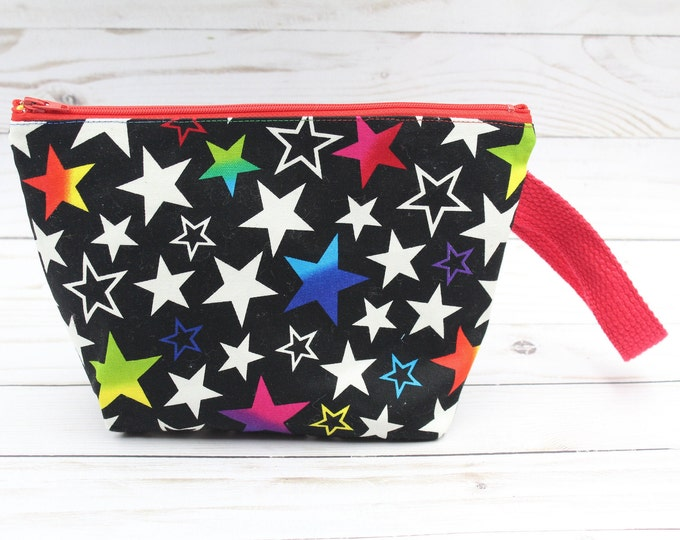 zipper pouch  with stars for knitting crochet handwork project bag cosmetics makeup 6x9.5 inches