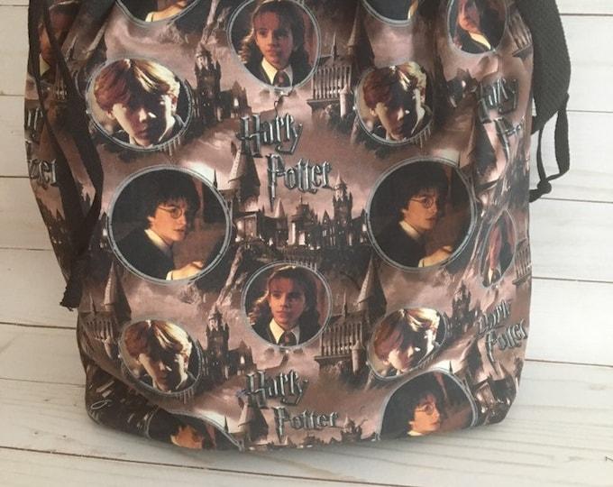 drawstring knitting project bag, Harry Potter, yarn, knitting bag, crochet project bag, gift for knitter, Harry Potter gift, wool, yarn