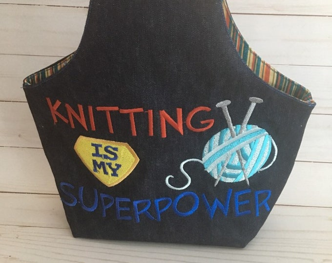 small project bag, knitting bag, yarn storage, super power wristlet yarn bag, gift for knitter, cross stitch, knitting project bag, yarn
