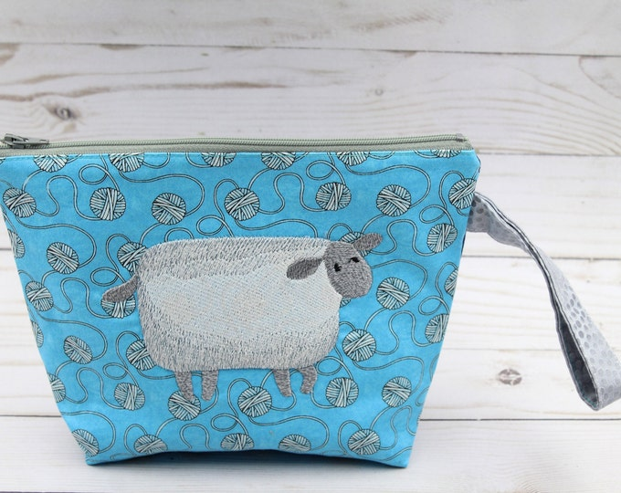 knitting project bag, zipper pouch embroidered sheep for crochet  9.5x6 inches .