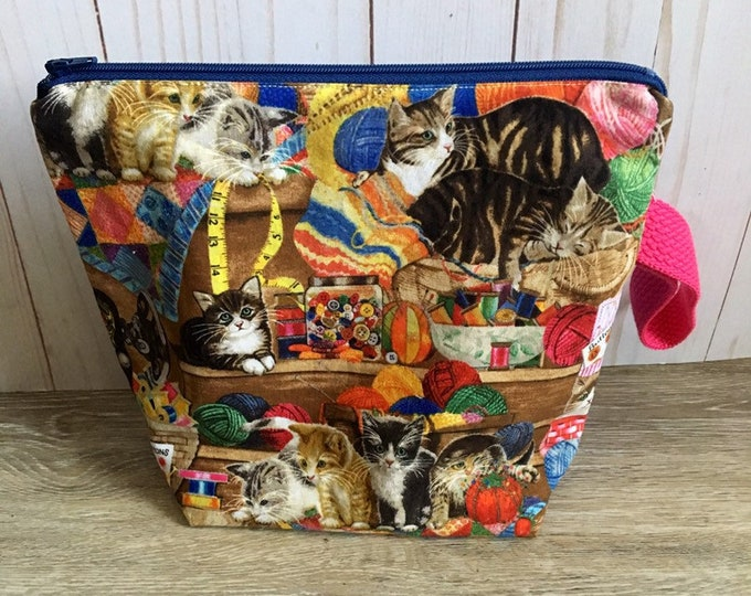 knitting bag zipper machine embroidered9.5x9.5 inchs cat bag