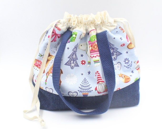 Christmas theme drawstring crochet knitting project bag reindeers 10x12.5 inches