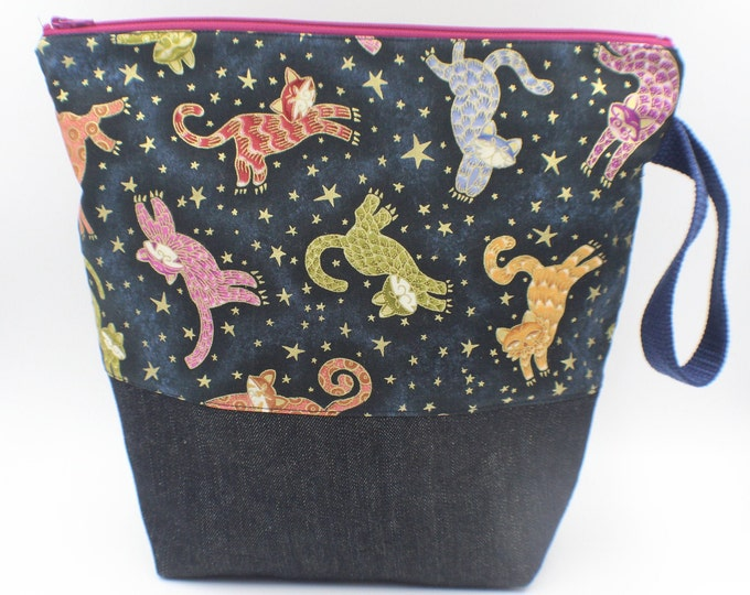 zipper pouch for travel, cosmetics, toiletries, knitting, crochet project bag, cat themed sparkly cotton, denim