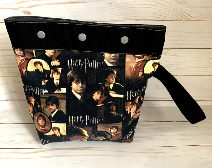 small  medium project bag Harry Potter knitting, crochet,  9X9 inches
