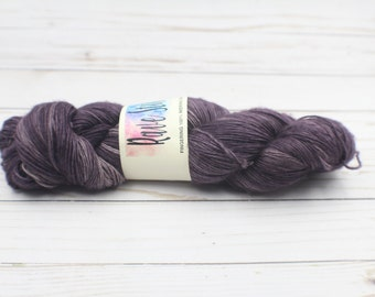 indie dyed yarnIndy hand dyed deep purple egg plant tonal single ply merino super wash yarn