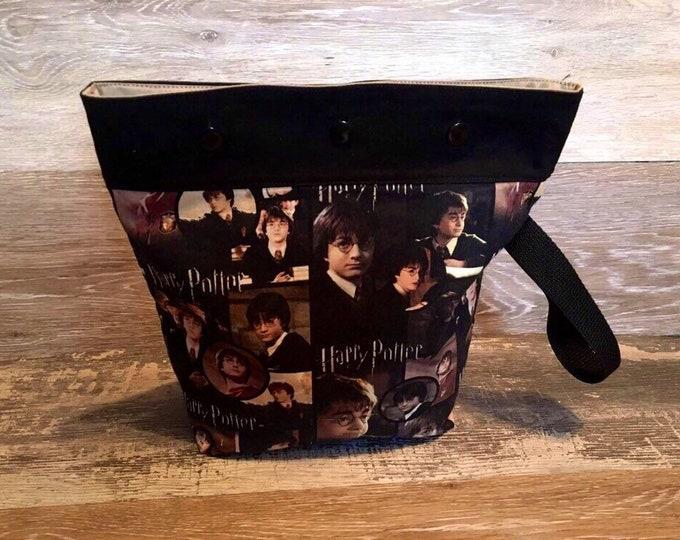 small project bag, Harry Potter gift, knitting bag, knit, crochet bag, gift for knitter, knitting, wool, yarn bag, machine embroidery, yarn
