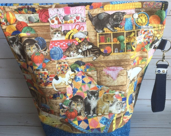 large knitting project bag, cat gift idea, project bag, gift for knitter, yarn bag, cat lover, yarn, wool, knit, fabric bag
