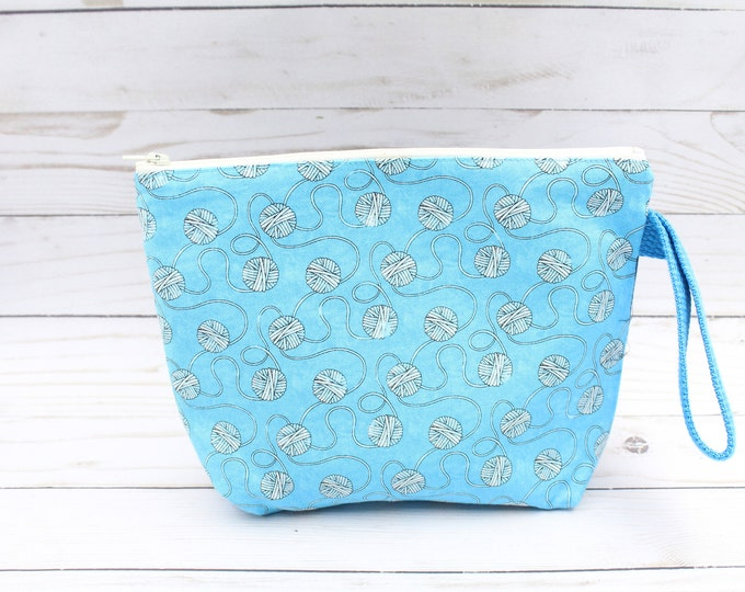 small zipper pouch perfect  for knitting  project bag crochet sock bag 6x9.5 inches