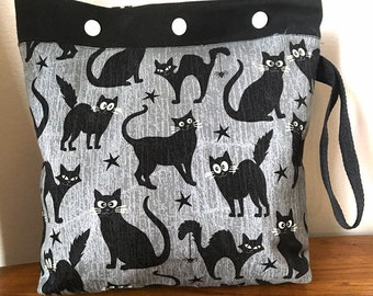 knitting, crochet project bag, glow in the dark black cat bag 10x10