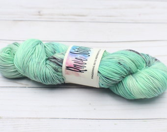 indie dyed yarn, hand dyed 85/15 high twist, super wash  fingering merino nylon wool .