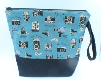 medium, large knitting bag camera theme fabric cotton linen 9.5 X 11  inches