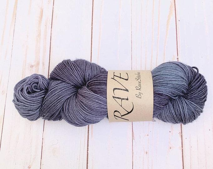 handdyed yarn  fingering 85/15 super wash merino nylon steel greyindie dyed yarn