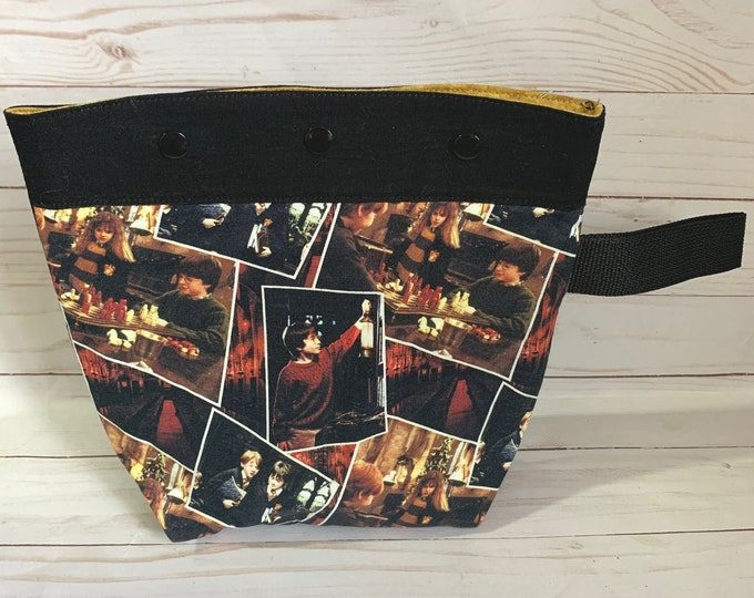 small  medium project bag Harry Potter knitting, crochet,  10X9 inches