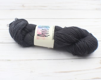 Charcoal hand dyed 85/15 high twist, super wash  fingering  indie dyed yarn merino nylon wool
