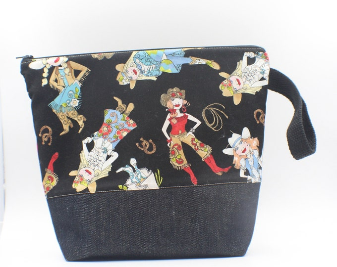 project bag, knitting and crochet bag with zipper, western cowgirl theme