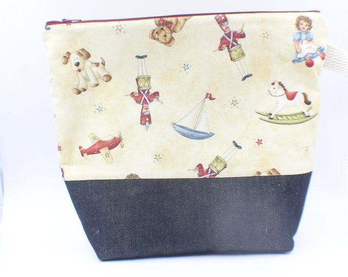 zipper pouch for travel, cosmetics, toiletries, knitting, crochet project bag Christmas themed sparkly  denim/ cotton