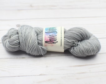 grey hand dyed 85/15 high twist, super wash  fingering merino nylon wool
