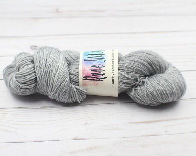 grey hand dyed 85/15 high twist, super wash  fingering merino nylon wool