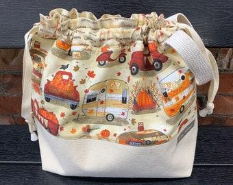 project bag for knitting, crochet, drawstring bag, autumn , fall  pumpkins, Halloween 12x11.5 x4.5  inch wedge