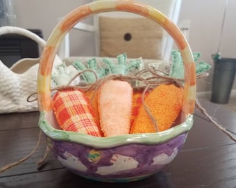 Easter Home Decor, Easter Decor, Spring Decor, Easter Bowl Filler, Hand Stitched Carrots