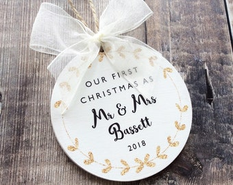 Our First Christmas as Mr & Mrs Personalised Bauble in Gold or Silver Glitter