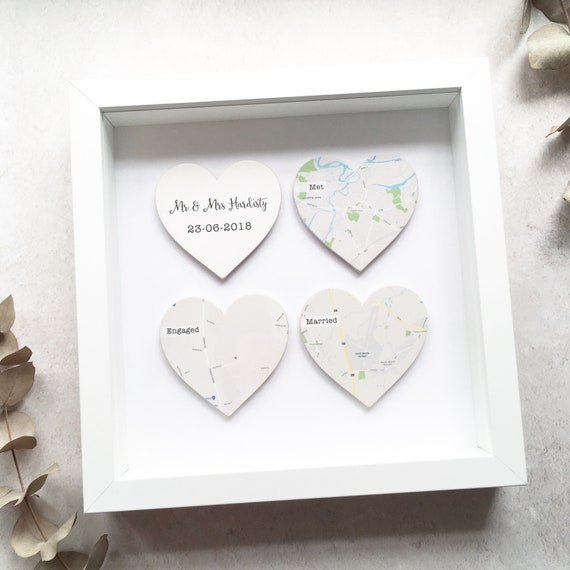 Personalised Wooden Map Hearts Frame. Wedding Engagement | Etsy