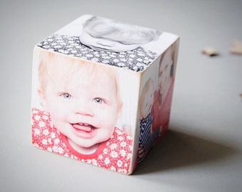 Personalised Wooden Photo Cube, Photos on wood, Photo block, Personalised photo gift
