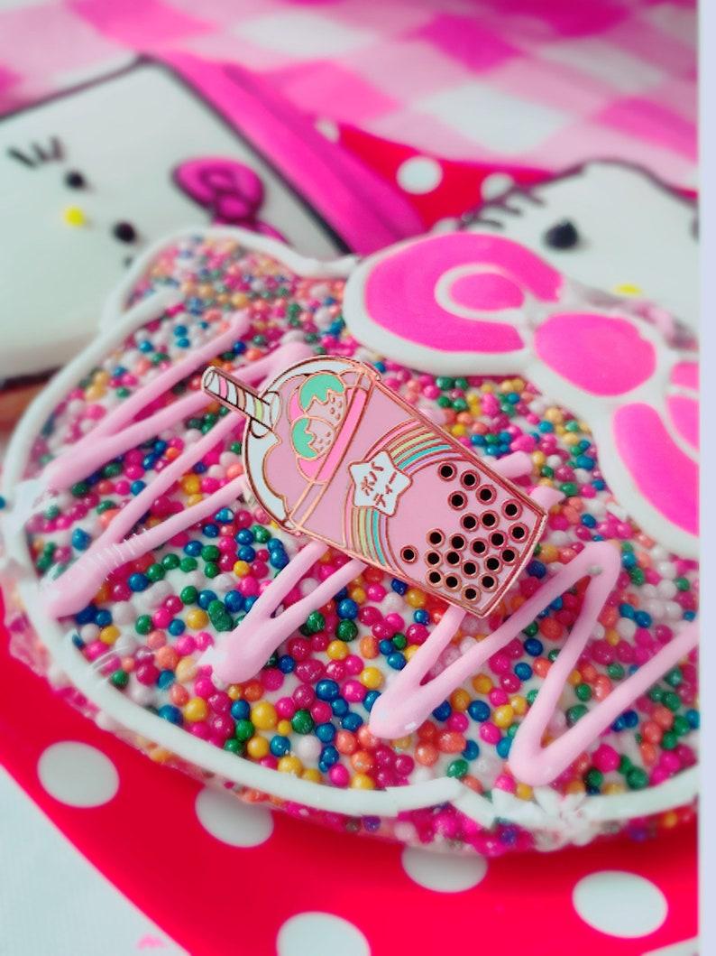 Magical Strawberry Bubble Tea Pin image 0