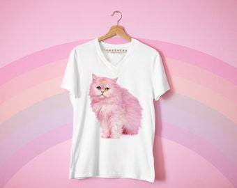 Pink Cross Persian Cat Vneck Tshirt Miseducated Tokyolux Collection