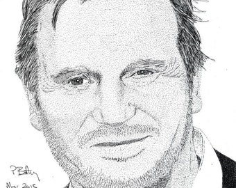 Greeting Card - Pen & Ink Drawing, A5 - Liam Neeson
