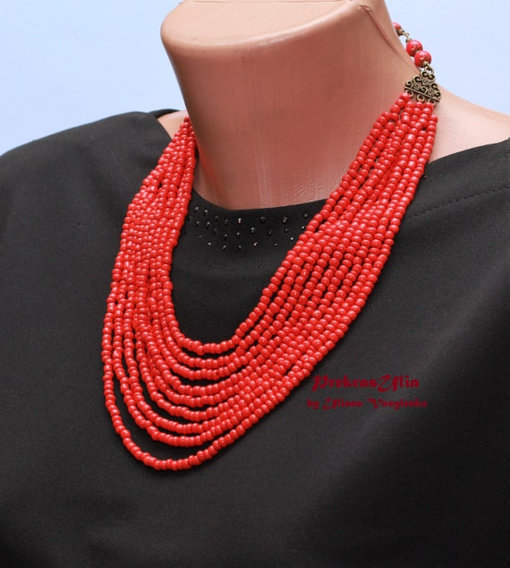 Red necklace nine strands, bronze accessories necklace for embroidery dress a gift to a friend of a sister's girlfriend
