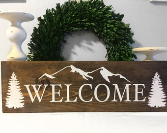 Welcome Sign - Cabin Sign - Wood Sign - Rustic Sign - Rustic Cabin Sign - Cabin decor - Cabin Wall Art